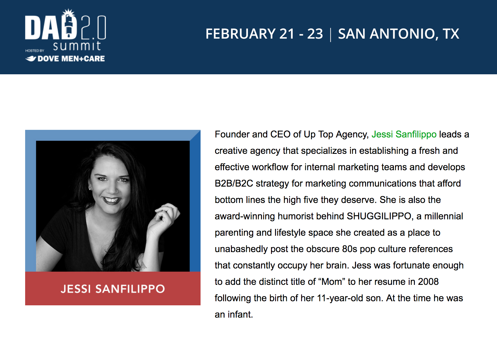 Jessi Sanfilippo, Founder + CEO of Up Top Agency, speaks at Dad 2.0 Summit 2019 in San Antonio, TX